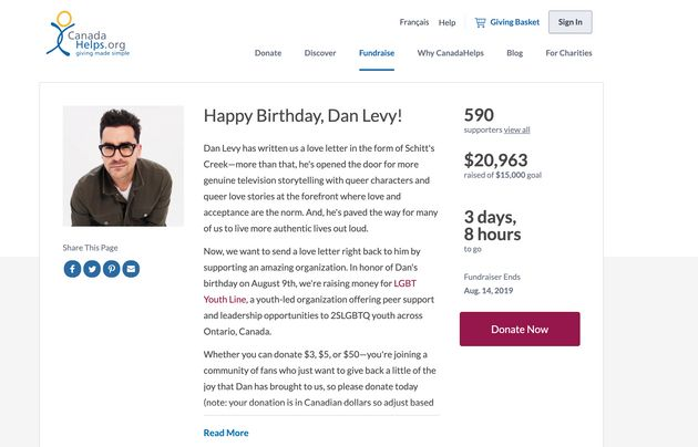 A screenshot of the CanadaHelps page for the fundraiser on Sunday