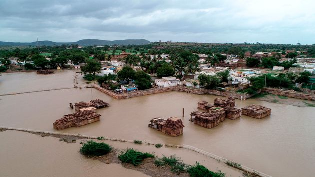 An aerial view of the famous Lad Khan Temple in Aihole submerged in floodwaters in Bagalkot district...