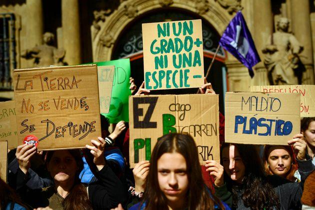 Protesta en Pamplona, el pasado 15 de marzo, en la principal concentración de Fridays for