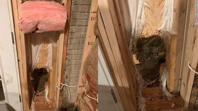 Ο τοίχος τον οποίο τρύπησε η αρκούδα για να γλυτώσει την σύλληψη.
