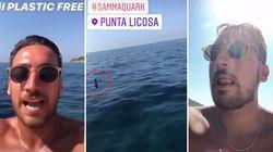 Getta in mare una bottiglia in diretta Instagram: