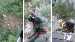 Uomo cade in un burrone col parapendio. Il salvataggio è da film