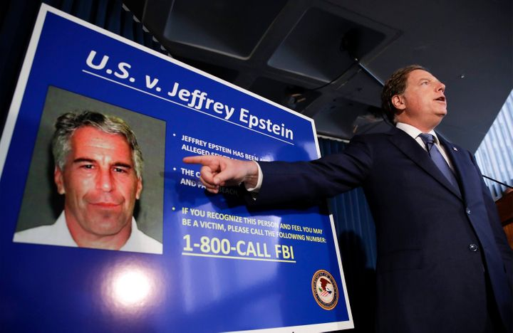 U.S. Attorney for the Southern District of New York Geoffrey Berman points to a photo of Jeffrey Epstein on July 8, 2019.