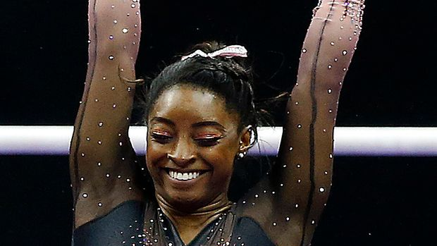 KANSAS CITY, MISSOURI - AUGUST 11:  Simone Biles reacts after winning the all-around gold medal in the Women's Senior competition of the 2019 U.S. Gymnastics Championships at the Sprint Center on August 11, 2019 in Kansas City, Missouri. (Photo by Jamie Squire/Getty Images)