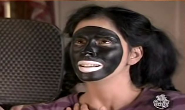 A screenshot of the actress wearing blackface from a 2007 episode of Silverman's Comedy Central