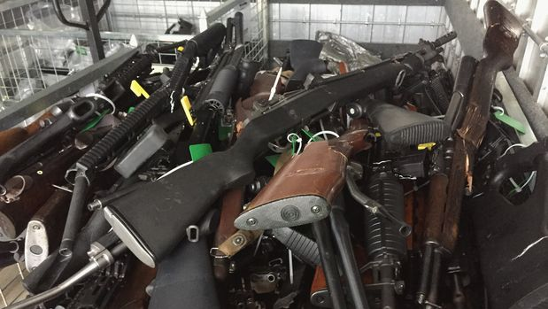 CHRISTCHURCH, NEW ZEALAND - JULY 13: In this handout image provided by New Zealand Police, collected firearms are seen at Riccarton Racecourse on July 13, 2019 in Christchurch, New Zealand. It is the first firearms collection event to be held in New Zealand following changes to gun laws, providing firearms owners the initial opportunity of many to hand-in prohibited firearms for buy-back and amnesty. The Christchurch event is one of 258 events that will run across the country over the next three months.The NZ Government will pay owners between 25 per cent and 95 per cent of a set base price, depending on condition. It will also compensate dealers and pay for some weapons to be modified to make them legal. The amnesty ends on December 20. (Photo by New Zealand Police/Getty Images)