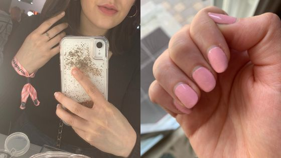 The author's nails in April 2019, unpolished and polished. At this point she was using Nailtiques Formula 2 as a biweekly base coat.