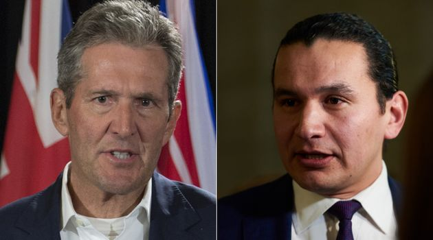 Manitoba Progressive Conservative Leader Brian Pallister and NDP Leader Wab Kinew are shown in a composite