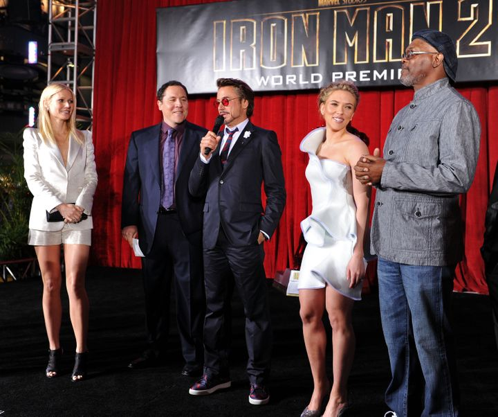 Gwyneth Paltrow, director/executive producer Jon Favreau, Robert Downey Jr., Scarlett Johansson and Samuel L. Jackson arrive