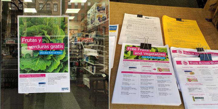 Flyers for the Pharmacy to Farm program in the window of the QuickRx Specialty Pharmacy on Manhattan's Upper West Side (left) and at the Union Square Greenmarket (right).