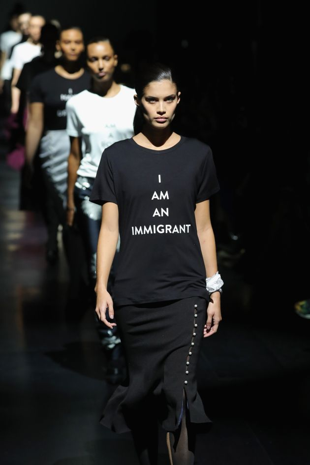 A model walks the runway for the Prabal Gurung collection during New York Fashion Week on Feb. 12,