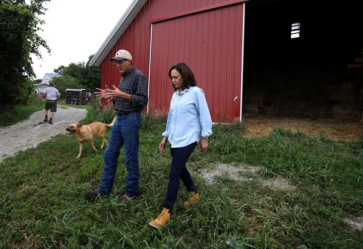 California Sen. Kamala Harris visits a farm as part of a five-day bus tour designed to show her commitment to competing in th