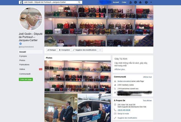 Les photos de couverture et de profil de la page de Joël Godin avaient été