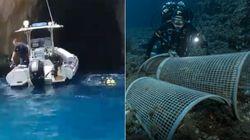 La grotta azzurra di Capri come una discarica: 10 chili di rifiuti raccolti sul fondale