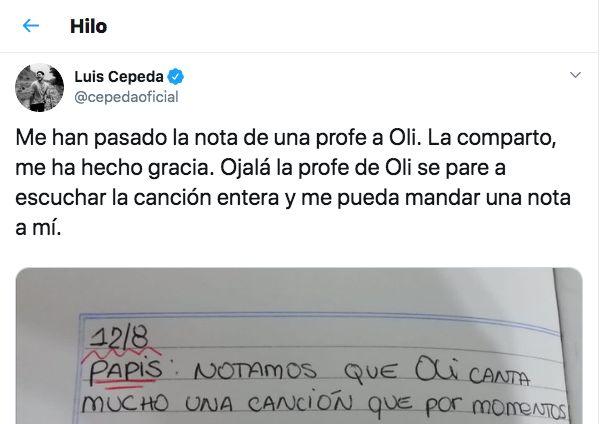 Cepeda comparte la carta de una profesora a los padres de una fan: