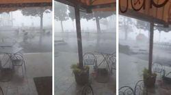 La tempesta fa volare tavoli e sedie. I cittadini del Lago Maggiore si riparano nel bar