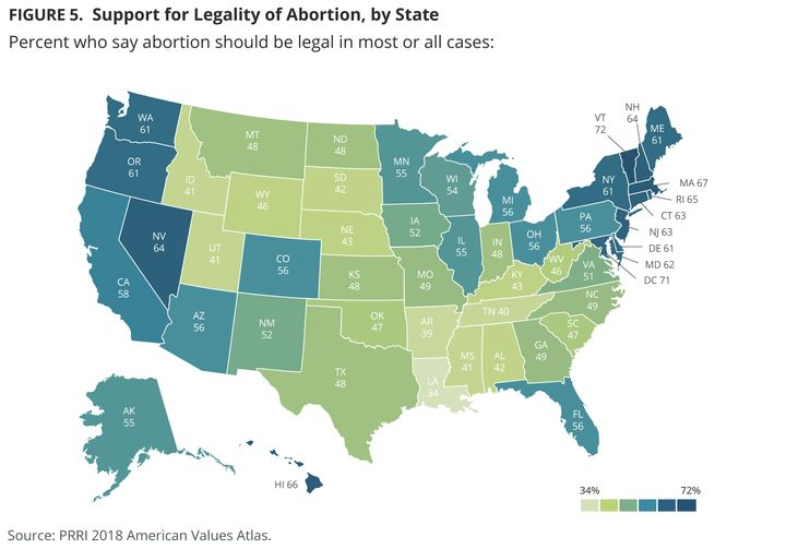 A PRRI graphic illustrates how Americans in all 50 states view the legality of abortion.