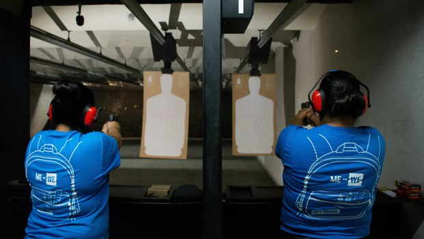 Nicole Navarro (L) and Adriana Retana, who said they wanted to improve their marksmanship after a gunman killed 22 people at a local Walmart, practice shooting at a gun range in El Paso, Texas, U.S. August 12, 2019.  REUTERS/Julio-Cesar Chavez