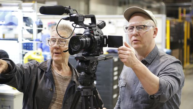 "Documentarians Julia Reichert (left) and Steven Bognar (right) working on ""American Factory."""