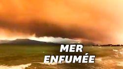 En Grèce, cette impressionnante fumée d'incendie transforme le