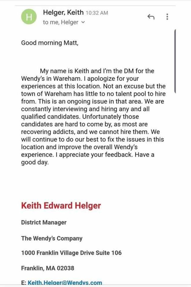Wendy's District Manager Blames Bad Service On Massachusetts