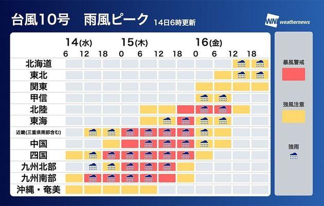 台風10号 雨風ピーク