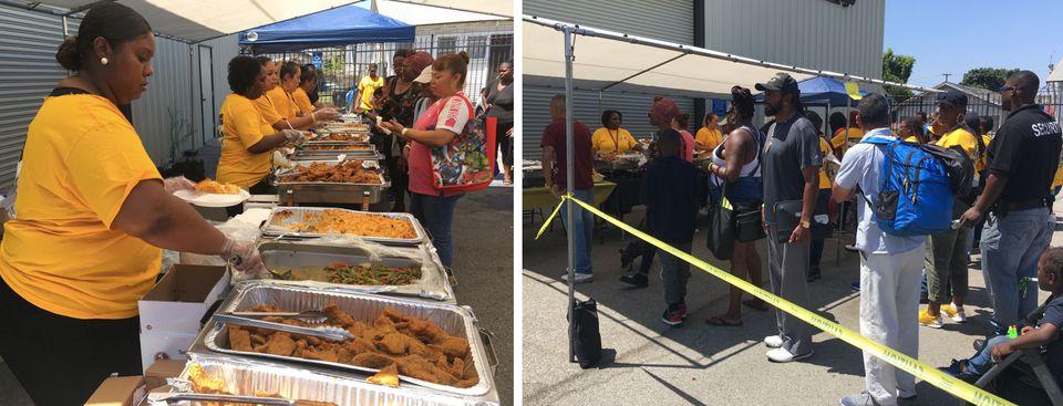 Devant ses locaux, l'association HOPICS distribue des repas aux sans-abri de South Los