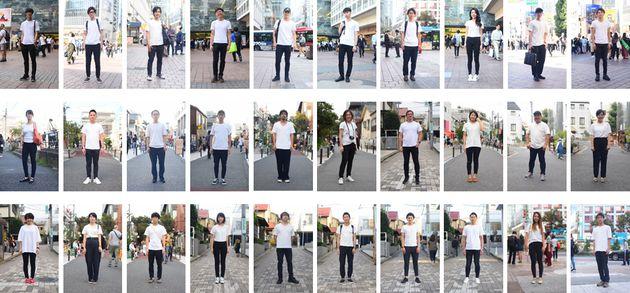 街中の「白シャツ黒パン」ファッションの人たち