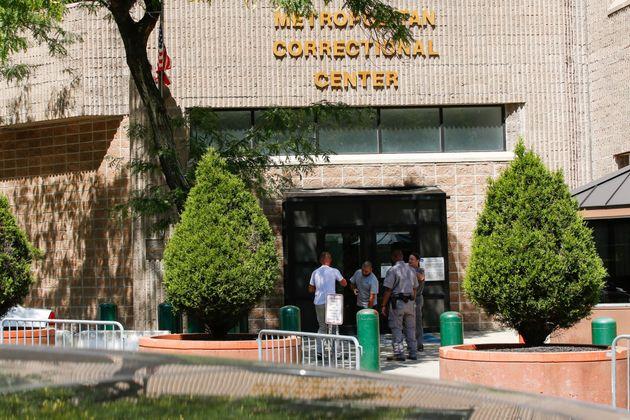 Security personnel seen at the entrance of Manhattan's Metropolitan Correctional Center where financier...