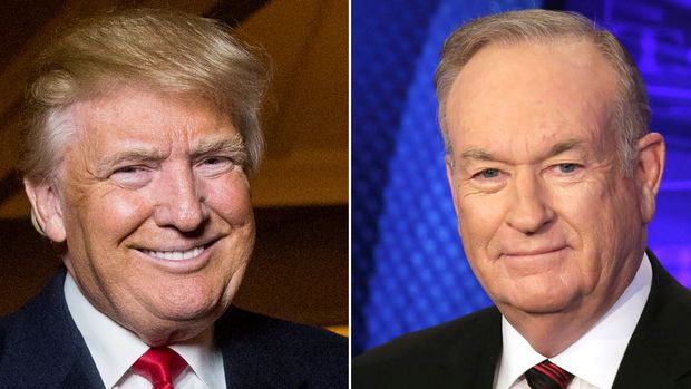 "This combination photo shows Donald Trump at the Trump National Golf Club in Sterling, Va., on Dec. 2, 2015, left, and former Fox News host Bill O'Reilly in New York on Oct. 1, 2015. Henry Holt and Company announced Tuesday that O'Reilly's ""The United States of Trump: How the President Really Sees America"" will come out this fall. The publisher is calling the book a non-partisan and well-rounded take on Trump.  (AP Photo)"