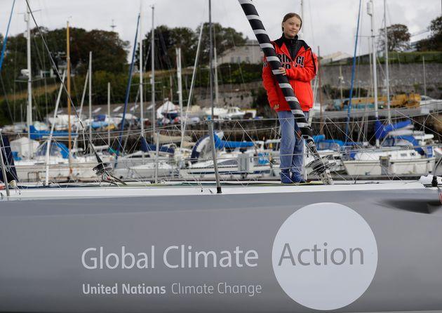 Greta Thunberg sur le bateau Malizia II, un voilier monocoque appartenant à Pierre Casiraghi,...