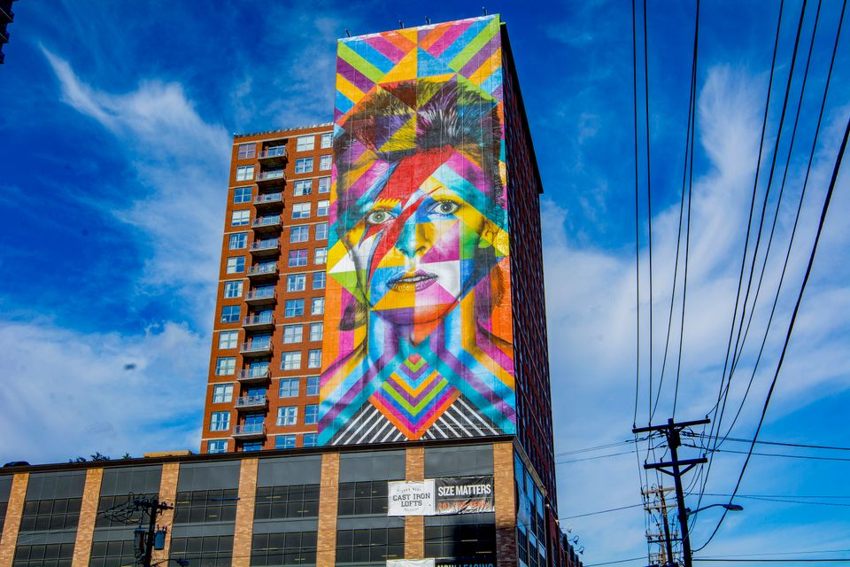 Brazilian artist Eduardo Kobra's depiction of the late British music icon David Bowie in Jersey City,...