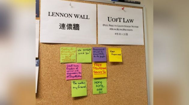 The Lennon Wall started at one of the University of Toronto's law buildings this