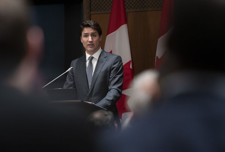 Prime Minister Justin Trudeau speaks at an evening caucus meeting on Parliament Hill in Ottawa on April 2, 2019.