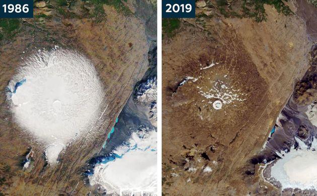 El glaciar Okjökull, fotografiado en 1986 y en el presente