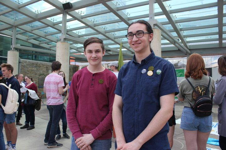 Edmonton Youth For Climate organizers Abram Ilscion and Olivier Adkin-Kaya, pictured before a march and rally on June 28.