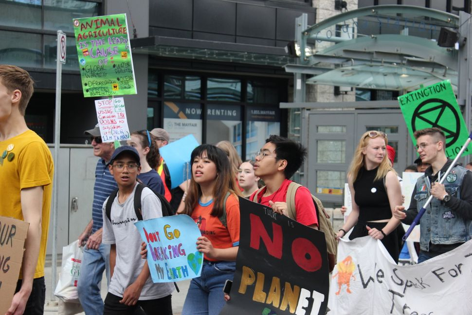 Student activists during a climate march in Edmonton on June 28,