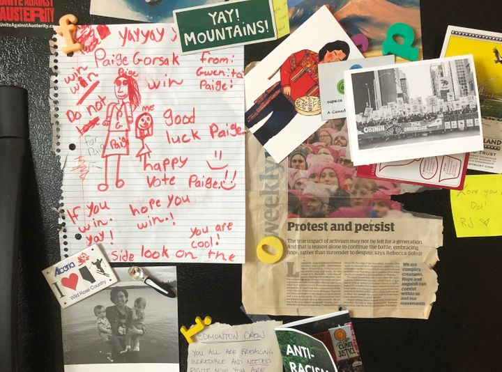 "The fridge of the so-called ""Climate Justice House"" in Edmonton, featuring a Christmas card from former NDP leadership candidate Niki Ashton."