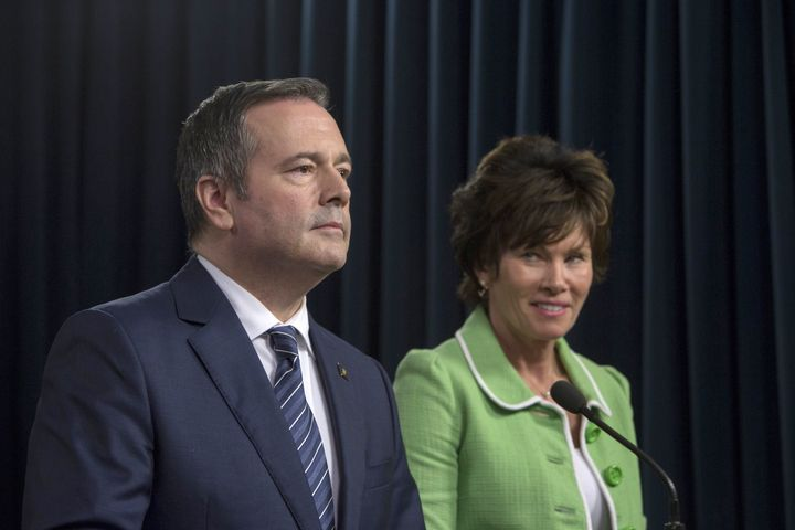 Alberta Premier Jason Kenney and Minister of Energy Sonya Savage respond to the federal approval of the Trans Mountain Pipeline in Edmonton on June 18, 2019.