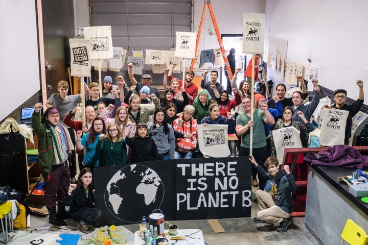 Members of Edmonton Youth For Climate, Beaver Hills Warriors and Climate Justice Edmonton gather for a sign-making meet-up in spring 2019.