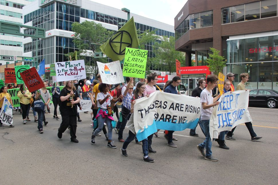 Students and allies march in Edmonton on June 28,