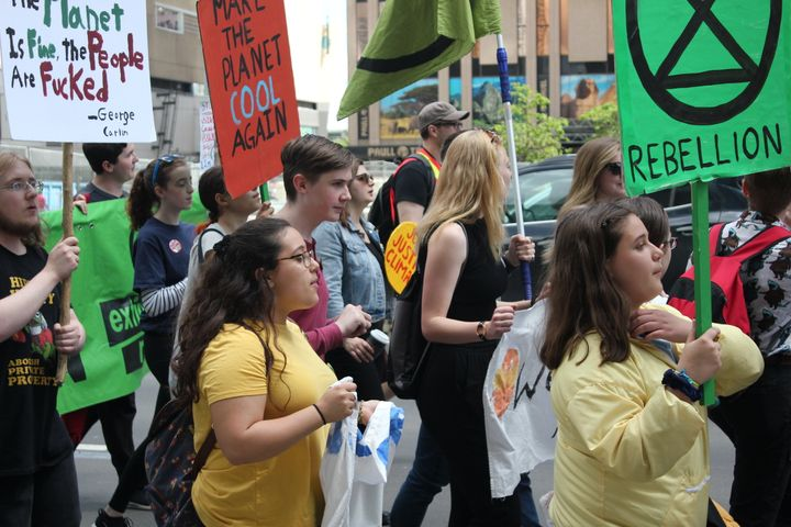 Members of Climate Justice Edmonton, Beaver Hills Warriors and Edmonton Youth For Climate march together on June 28.