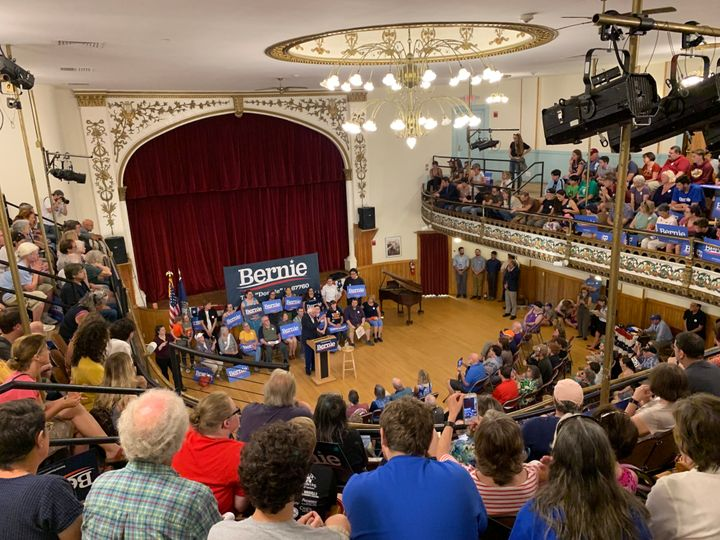 Sen. Bernie Sanders (I-Vt.) holds a Q&A event in Littleton, New Hampshire.
