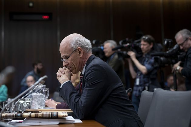 Former clerk of the Privy Council Michael Wernick prepares to testify before the House justice committee on March 6, 2019.