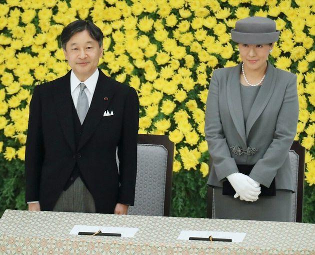 全国戦没者追悼式に臨まれる天皇、皇后両陛下=8月15日午前、東京都千代田区の日本武道館