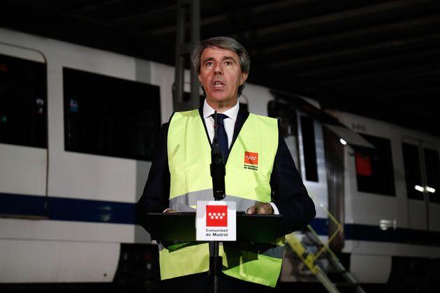 Ángel Garrido, en 25 de marzo pasado, en un acto en la estación de metro de Tres Olivos,...