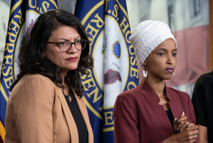Democratic Reps. Rashida Tlaib of Michigan (left) and Ilhan Omar of Minnesota (right) were banned from visiting Israel, the c