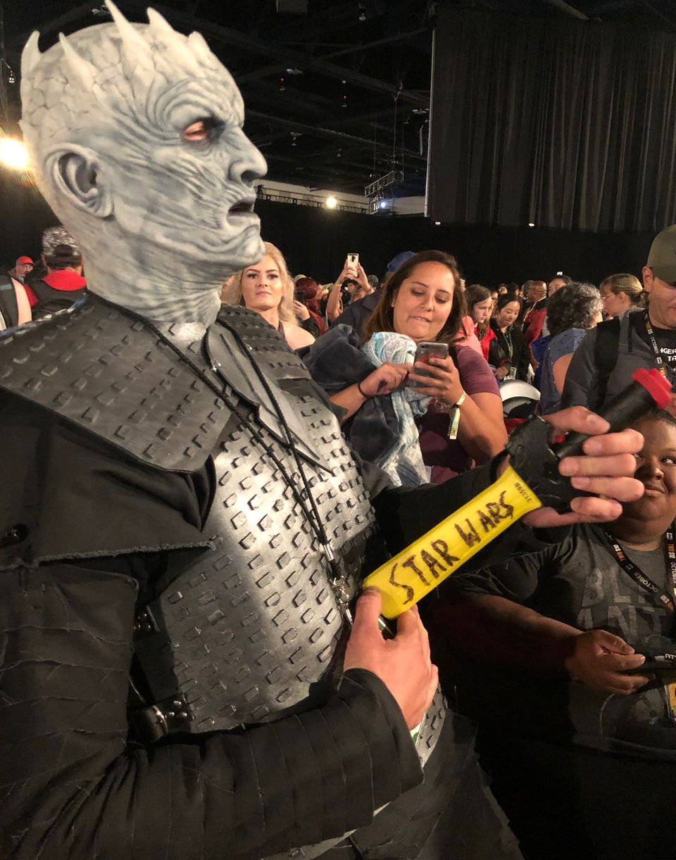 """A Night King cosplayer with a dagger saying """"Star Wars"""" on the side at Comic-Con. Fans had..."""