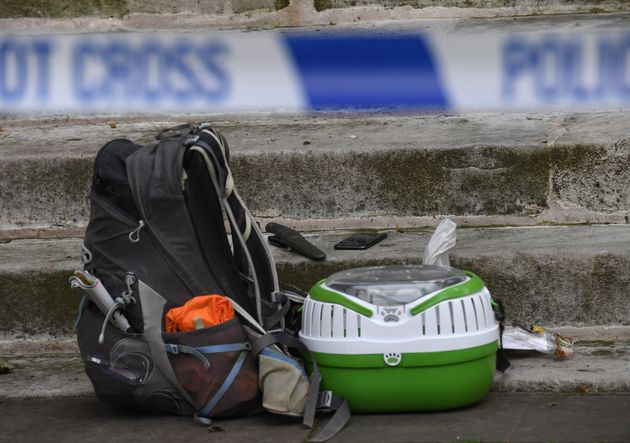 Items behind a police cordon outside St John's Smith Square church in Westminster, after the