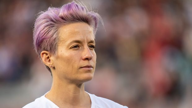 PASADENA, CA - AUGUST 3:   Megan Rapinoe #15 of the United States the United States international friendly match against Ireland at the Rose Bowl on August 3, 2019 in Pasadena, California.  The United States won the match 3-0 (Photo by Shaun Clark/Getty Images)